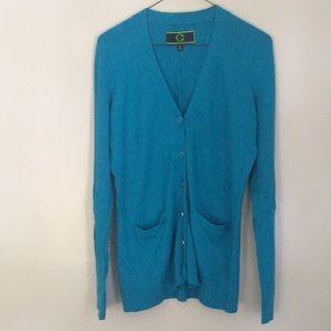 Cardigan/ bottom down blue sweater